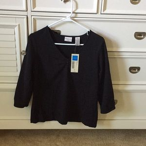 Covington 3/4 sleeve Pinch Front V-Neck Top NWT